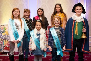 BAck Left: Maisie and Emily - Attendants, Maddi - Carnival Princess, Ava - Carnival Queen. Front: Isla and Lizzy - Attendants, Tom - Junior Carnival Crier