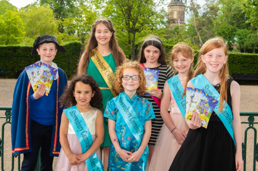 Shrewsbury Carnival's Royalty Tom – Junior Carnival Crier, Ava – Carnival Queen, Maddi – Carnival Princess with attendants Isla, Elizabeth, Emily and Maisie get ready for Saturday's event. Photo: Steven Oliver Photography